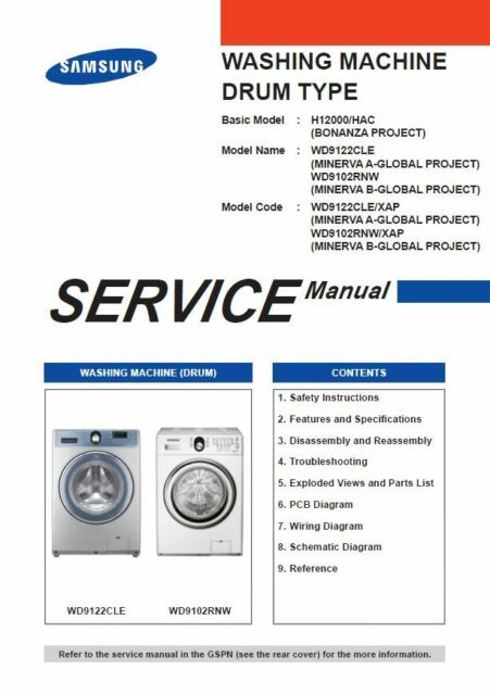 Samsung wd9122cle wd9102rnw washing machine service manual ebay samsung wd9122cle wd9102rnw washing machine service manual asfbconference2016 Image collections