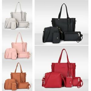 061554e399b7 4pcs set Women Ladies Leather Handbag Shoulder Tote Purse Satchel ...