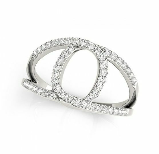 0.65 CT FOREVER CLASSIC MOISSANITE FASHION MODERN THIN CIRCLE MICRO PAVE RING