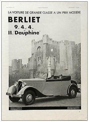 Vintage Year 1934 Original   French Automobile Berliet Dauphine Advertising