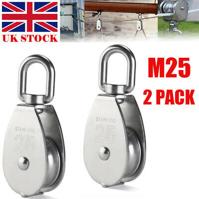 Silver Bestlymood 2Pcs 25MM Single Pulley Block in 304 Stainless Steel M25 Pulley Roller Loading 400kg