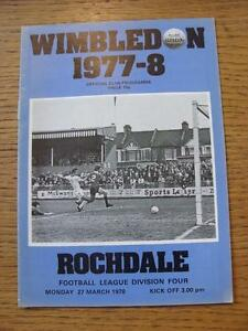 27031978 Wimbledon v Rochdale 1st League Season   Any faults with this item - <span itemprop='availableAtOrFrom'>Birmingham, United Kingdom</span> - Returns accepted within 30 days after the item is delivered, if goods not as described. Buyer assumes responibilty for return proof of postage and costs. Most purchases from business s - <span itemprop='availableAtOrFrom'>Birmingham, United Kingdom</span>