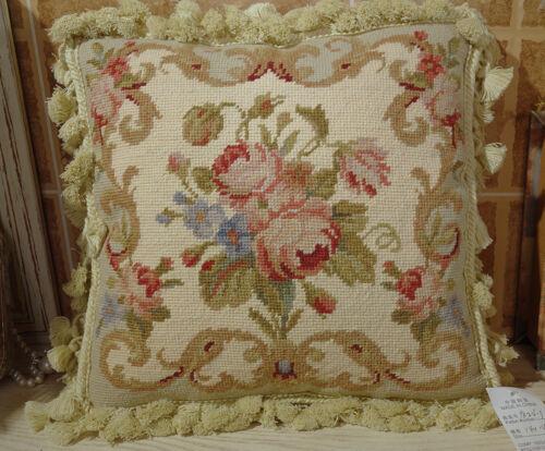 """14/"""" Elegant French Aubusson Design Woolen Needlepoint Throw Pillow Cushion"""