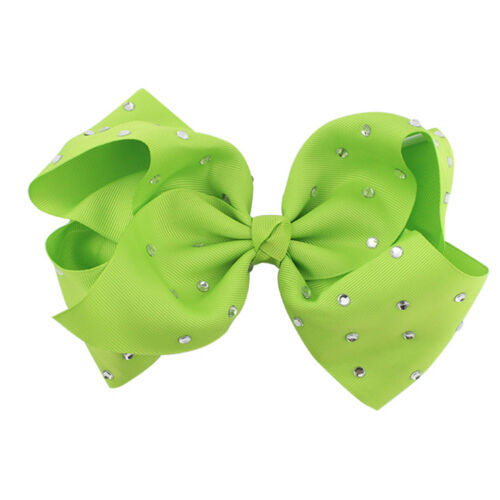 8 Inch Large Girls Hair Bows Rhinestone Grosgrain Ribbon Knot Large With Clip