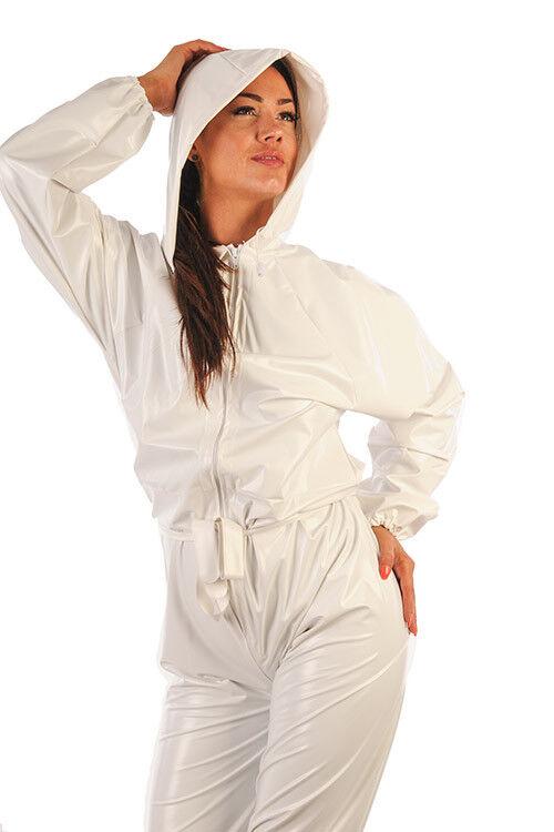 Overall Regenanzug Suit 100% PVC -kein Gummi weiß Unisex