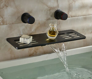 Details About Multifunction Waterfall Spout Bathtub Faucet Wall Mount Dual  Knobs Mixer Tap