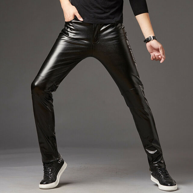 Mens PU Leather Slim Glossy Trousers Tights WetLook Dance Skinny Pants Club Wear