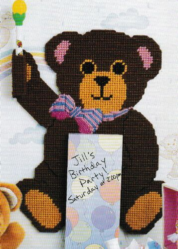 """Bear Notepad Holder Plastic Canvas Pattern ONLY 13-3//8/"""" x 10-1//2/"""" 7 cnt pc"""