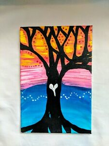 Whimsical Tree of Life Acrylic Painting on Flat Canvas 4x6 inches Cheerful