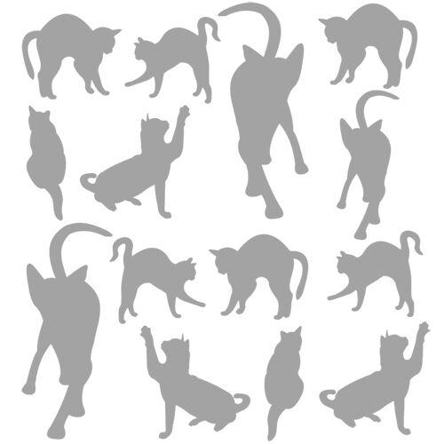 Chats de 6 à 16 cm Sticker Planche Silhouettes Chats en tout genre 30x30cm