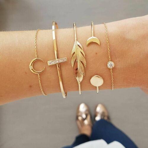 Women Leaf Arrow Rope Bead Bracelet Set Multi-layer Bangle Jewelry Gift Party