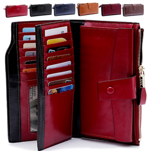 Women-Genuine-Leather-Long-Wallet-Money-Card-Holder-Clutch-Purse-RFID-Blocking
