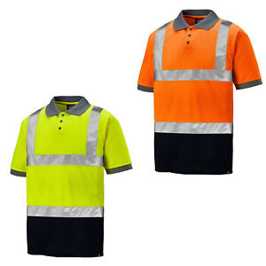 Dickies-Hi-Vis-Two-Tone-Polo-Mens-Short-Sleeve-Work-PPE-Tee-SA22076