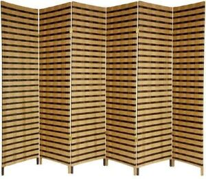 72 x 1065 in Two Tone 6 Panel Folding Room Divider Free Standing
