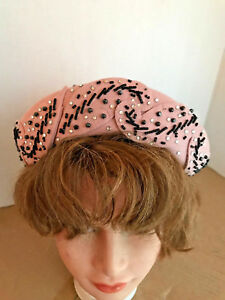 Womens-Pink-Abraham-amp-Straus-Felt-Beaded-Hat-with-Hat-Pins-Brooklyn