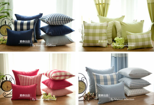 1 PC Country French Stripe Check Cushion Cover Pillow Sham Pillowcase