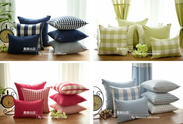 1 PC Country French Stripe Check Cushion Cover Pillow Sham Pillowcase