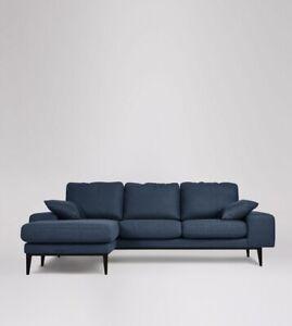 Swoon Tulum Modern Indigo Smart Wool Left Hand MTO Corner Sofa - RRP £1479