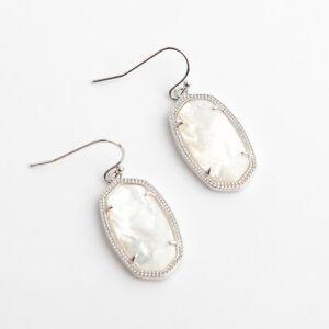 da7f2c5b0 Kendra Scott Dani Silver Drop Earrings In Ivory Pearl w Dust Bag | eBay