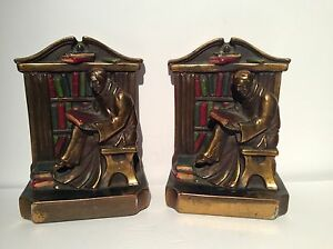 Armor bronze set of two reading monks in library bookends 7 39 39 ebay - Armor bronze bookends ...