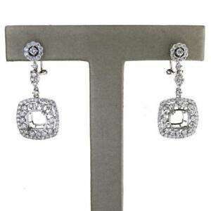 Details About Dangling Earring Settings In Solid 18k White Gold With 2 47 Tcw Diamond Accents