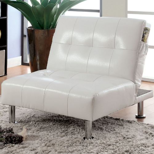 Faux Leather Chaise Lounge Chair Convertible Modern Sleeper Tufted