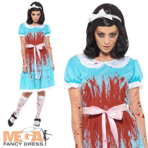 Bloody Murderous Twin Ladies Fancy Dress Shining Womens Adults Halloween Costume