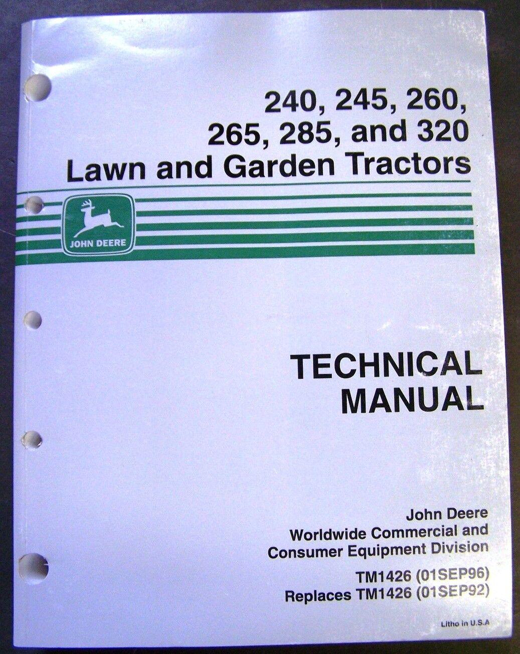 John Deere Models 240-245-260-265-285-320 Lawn Tractors Technical Service  Manual | eBay