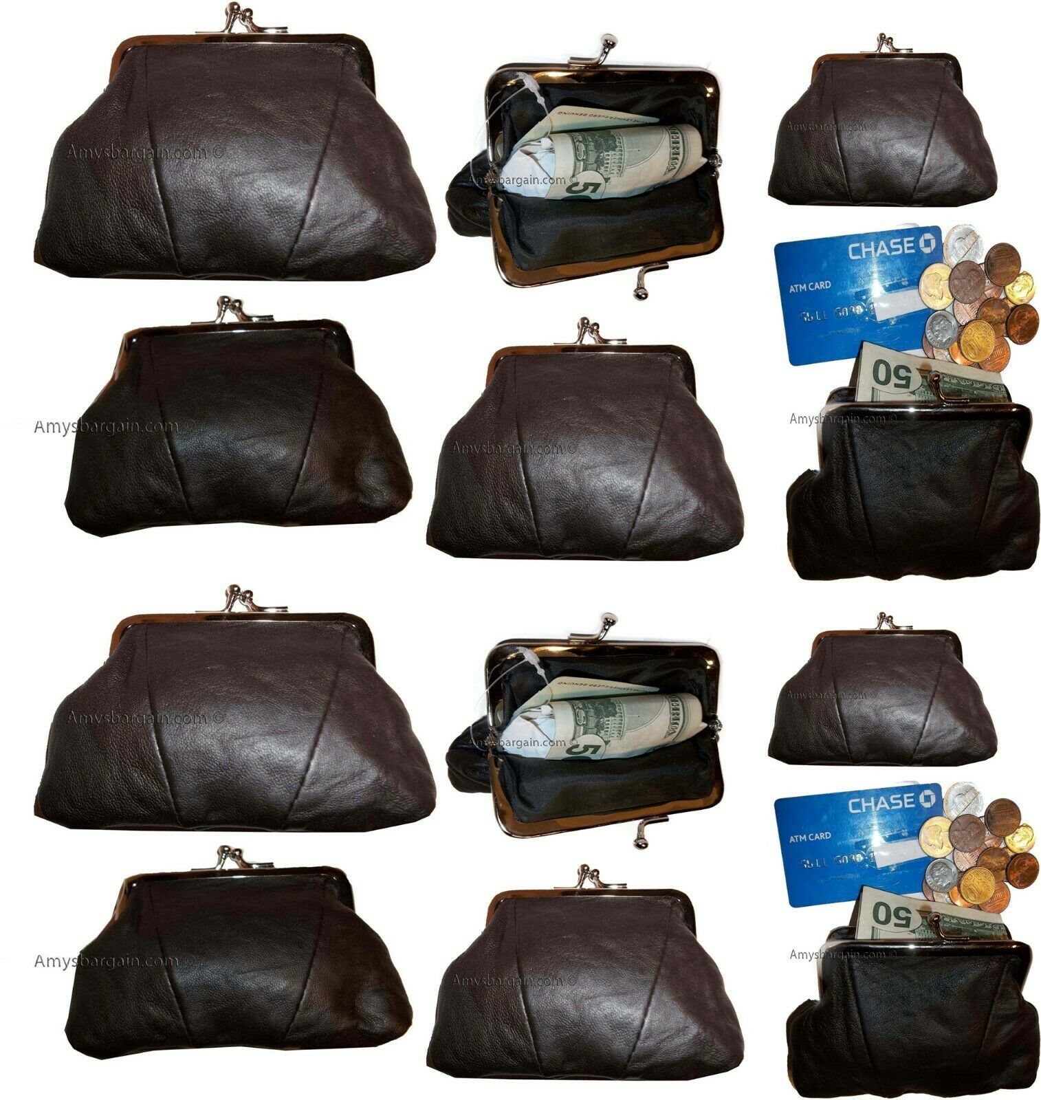 lot of 12 new women's leather change purse coin bag wallet bag hand coin cases