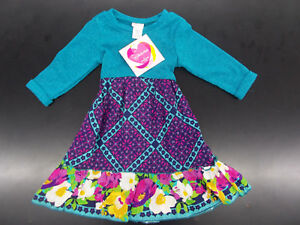 Youngland Toddler Girls Floral Dress Turquoise