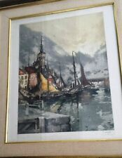 1929 L'Estampe Moderne Etching Ostende, Belgium Ferdinand Jean Luigini, Signed