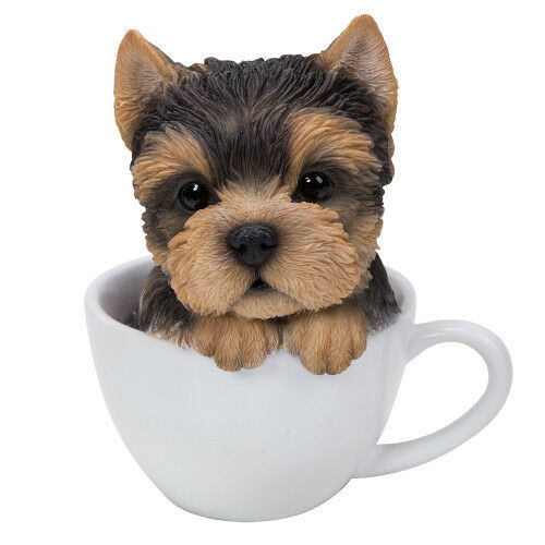 New TEACUP PUPS Figurine Statue YORKIE DOG PUPPY in Cup Mug YORKSHIRE TERRIER