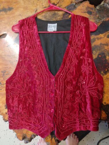 Red Crushed Velvet Vest