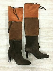 27fe73f797f BCBGMAXAZRIA Knee High Suede Leather 3 in 1 Zipper Brown Combo Heel ...