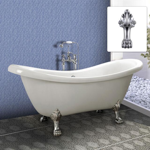 Freestanding Bath Tub Double Ended Roll Top SLIPPER Bathtub White ...