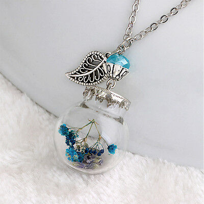 Popular Flower Bottle Necklace Glass Dried Flowers  Pendant Crystal Necklace