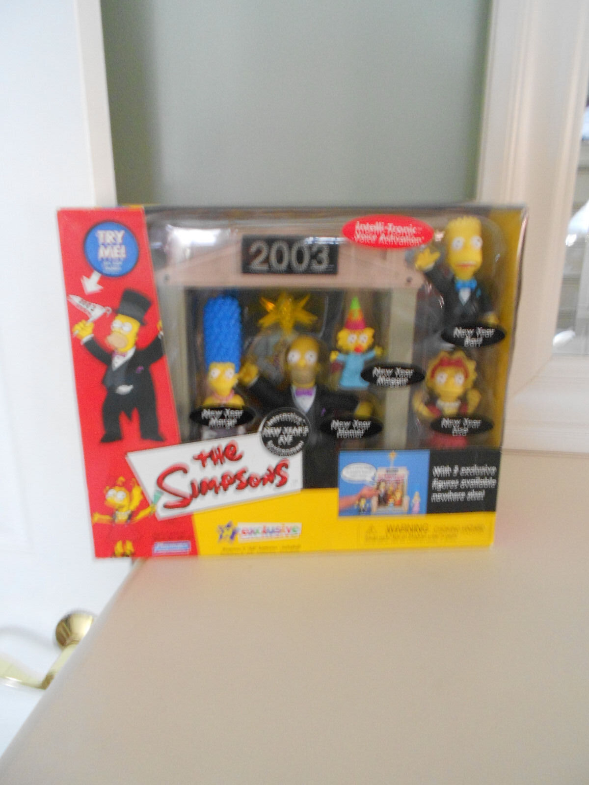 THE SIMPSONS  5 Figure Exclusive New Year's Eve Set, 2003, Intelli-Tronic Voices