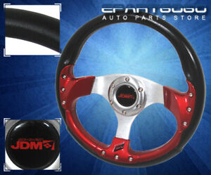 320Mm-6-Bolt-Jdm-Sport-Racing-Steering-Wheel-Pvc-Leather-Black-Red-For-Toyota