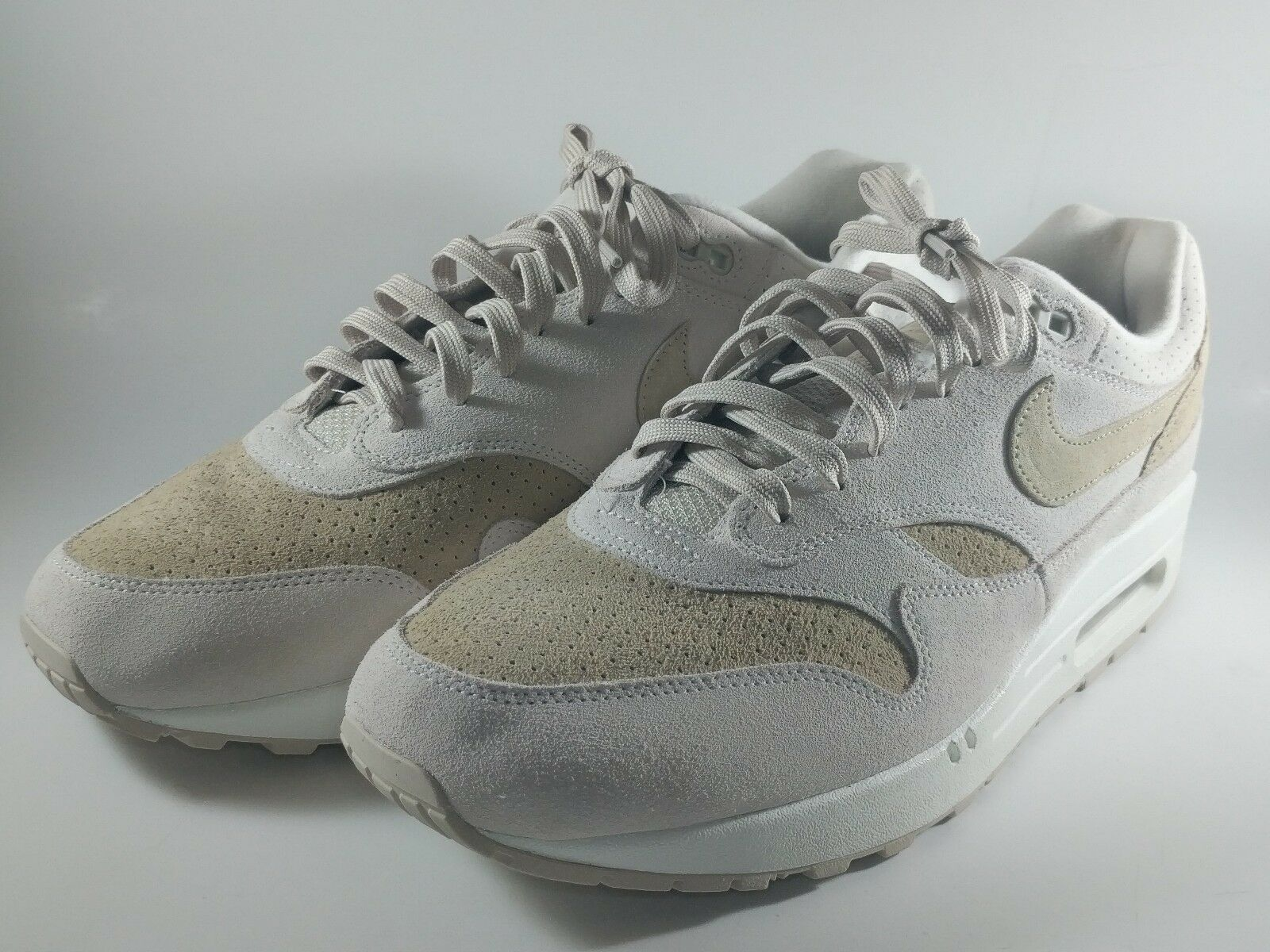 Nike Air Max 1 PRM Desert Sand Tan Suede White Beige 875844-004 sz 13 Running