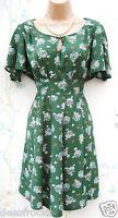 SIZE 8 40'S 50'S WW2 LANDGIRL STYLE TEA DRESS GREEN DITSY FLORAL # US 4 EU 36