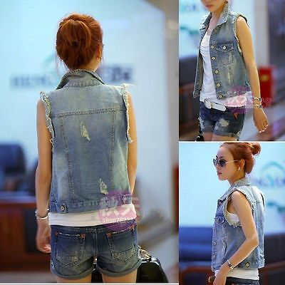 Women Girl's Vintage Frayed Cardigan Denim Vest Jean Waistcoat Jacket Outerwear