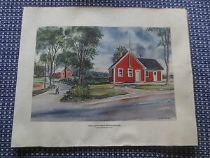 LITTLE-RED-SCHOOL-HOUSE-Farmington-ME-Original-Watercolor-Print-C-R-TYLER