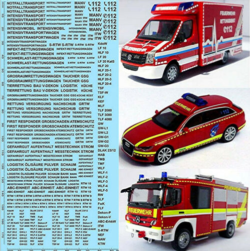 Rettungsdienste Feuerwehr DE 04 Emergency services schwarz black 1:87 Decal