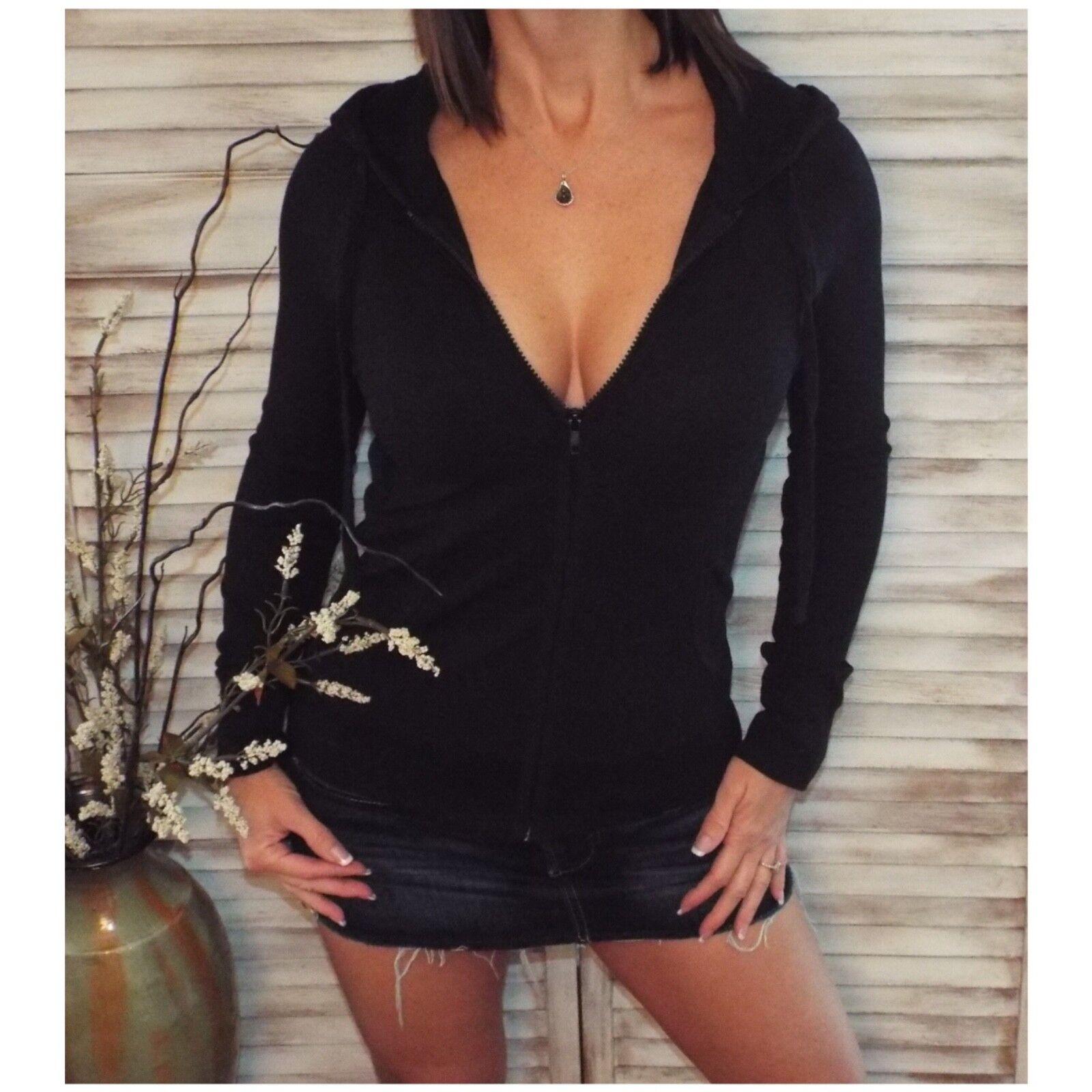 Very Sexy Zip Up Waffle Thermal Hoodie Light Jacket Sweater Yoga Black XL/1X/2X