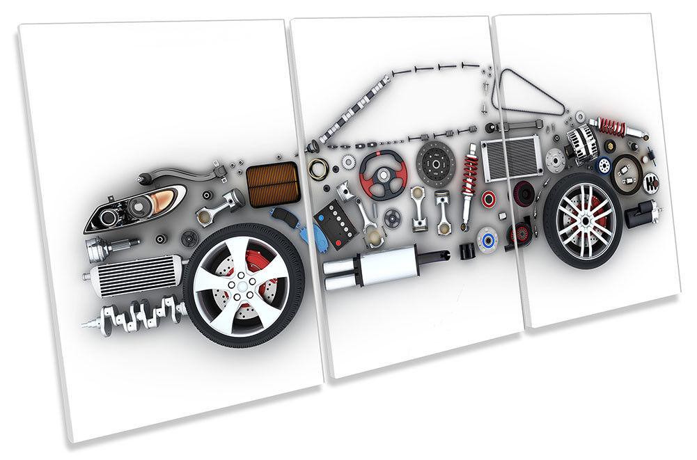 Car Parts Garage Mechanical Framed CANVAS PRINT TREBLE Wall Art
