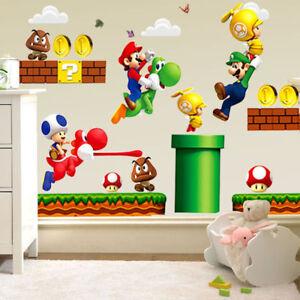 Dessin-anime-SUPER-MARIO-BROS-amovible-Wall-Stickers-Decal-Kids-Home-Decor