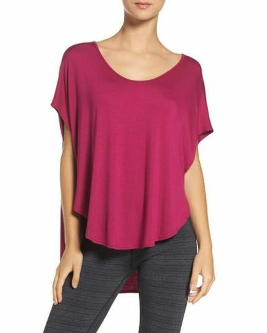 NWOT BEYOND YOGA Slink or Swim Scalloped tee - Plumberry - Sz S - RARE