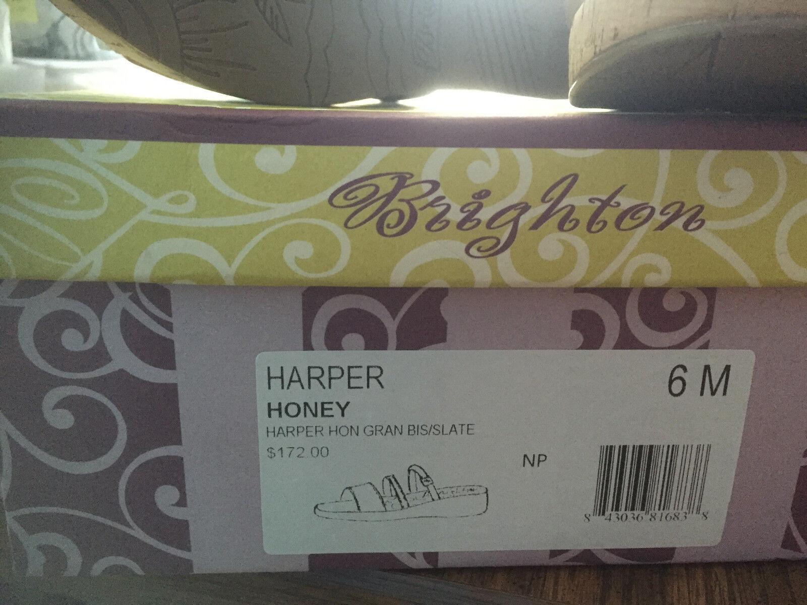 BRIGHTON Comfy HARPER Wedge Schuhe neutral HONEY Leder Wedge HARPER Sandales SLIDES Siz 6 NEW 0fe3c8