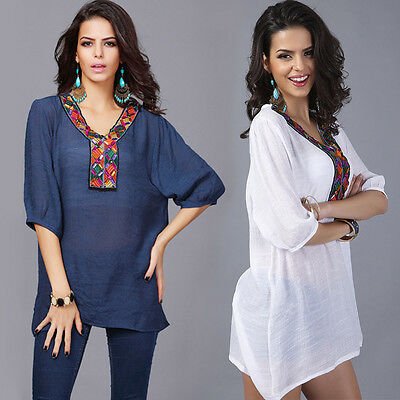 Summer Women Loose Embroidery Blouse Bohemia Short Sleeve Tops Shirts Plus Size