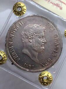 Royaume-de-Naples-Ferdinand-II-de-Borbone-Plaque-120-Grain-1857-Expertise-Spl